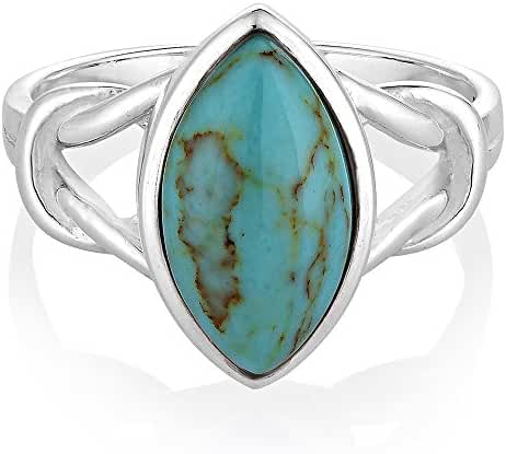 925 Sterling Silver Blue Turquoise Stone Marquise Shape Knot Band Ring Jewelry Size 6, 7, 8